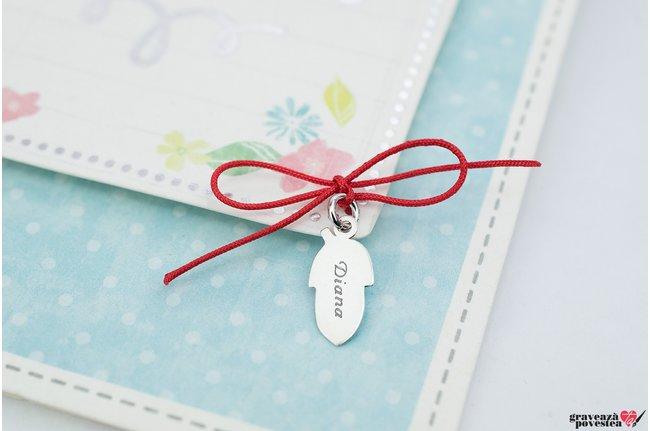Pandantiv supliment ghinda 15 mm personalizata gravura text Argint 925 rodiat