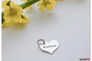 Pandantiv supliment inima 12 mm personalizata gravura text Argint 925 rodiat