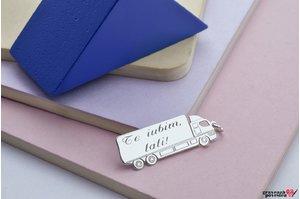 Pandantiv camion 35 mm personalizat gravura text Argint 925 rodiat