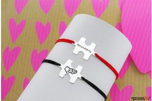 Bratari snur cuplu/ prietenie puzzle 19 mm personalizate gravura text Argint 925 rodiat