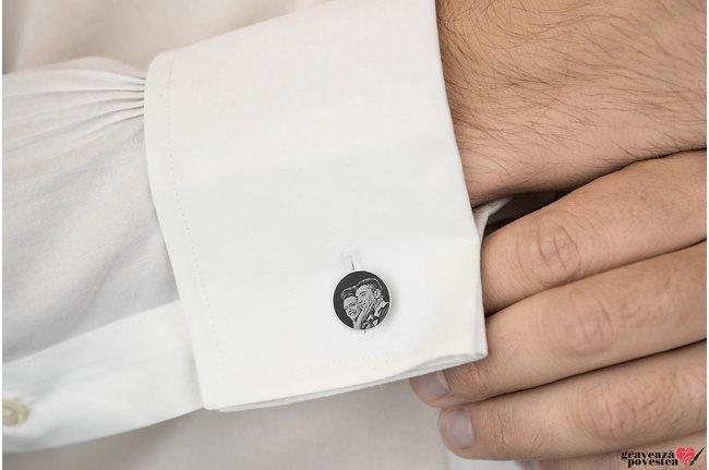Butoni camasa banut 15 mm personalizati gravura foto Argint 925 rodiat