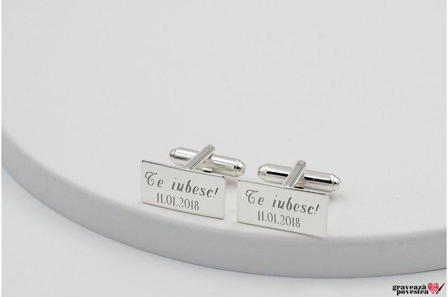 Butoni camasa placuta 19 mm personalizati gravura text Argint 925 rodiat
