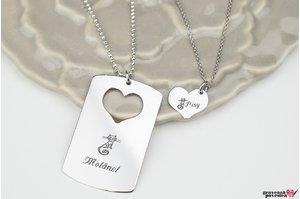 Coliere cuplu/ prietenie placuta si inima 38 mm personalizate gravura text Argint 925 rodiat