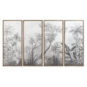 Delaney Set 4 tablouri, Lemn, Alb