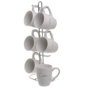 Dust Set 6 cesti cafea si Suport, Portelan, Alb