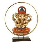 Ganesha Circle Statueta, Polirasina, Multicolor