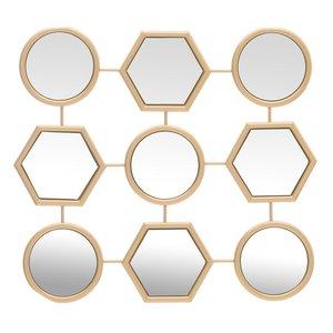 Geometrical Decoratiune oglinda, Metal, Auriu