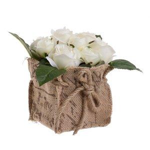 Inah Floare artificiala ghiveci, Plastic, Alb
