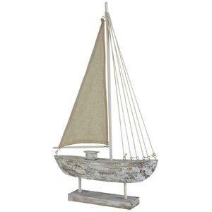 Jana Decoratiune barca mare, Lemn, Alb