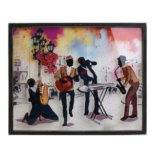 Jazz Tablou cantareti, Lemn, Multicolor
