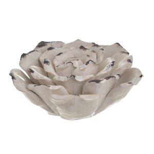 Liberty Decoratiune trandafir mare, Ceramica, Crem