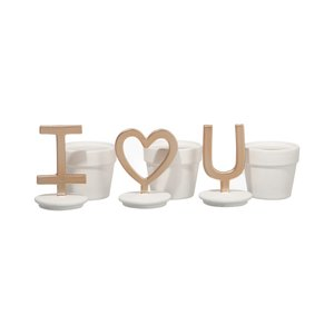 Love you Set 3 decoratiuni, Ceramica, Alb