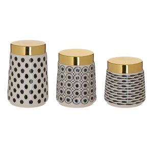 Ming Set 3 Recipiente, Ceramica, Auriu