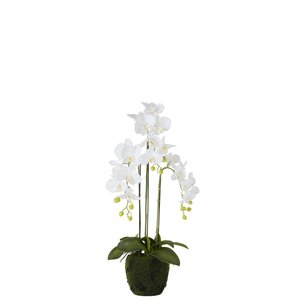 Orhidee, Floare artificiala ghiveci mic, Plastic, Alb