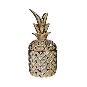 Pinelo Vas decorativ cu capac ananas, Ceramica, Auriu