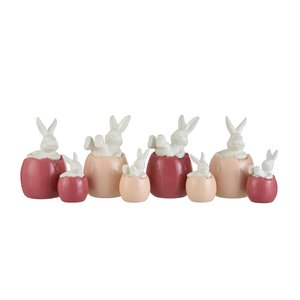 Rabbit Egg Set 4 Decoratiuni, Portelan, Multicolor