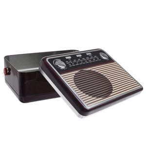 Radio Recipient cu capac, Metal, Maro