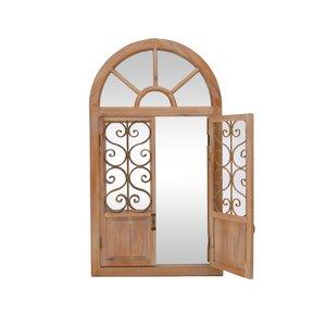 Window Oglinda perete, Lemn, Bej