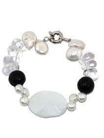 Bratara cu agate negre, perle de cultura si cristale