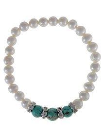 Bratara cu perle de cultura si pietre turquoise