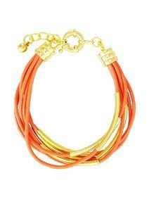 Bratara din piele orange si accesorii metalice