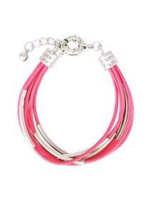 Bratara fasii piele roz si accesorii metalice