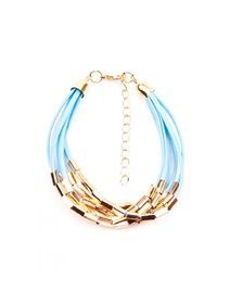 Bratara fasii piele sintetica, albastra, cu accesorii metalice, aurii