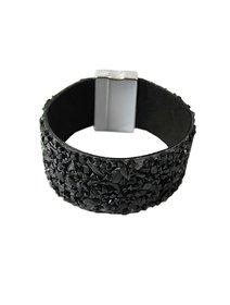 Bratara lata, neagra, cu pietre cips negre aplicate