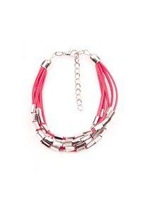 Bratara piele sintetica rosie, cu accesorii metalice, argintii
