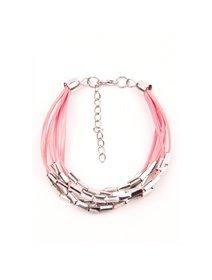 Bratara roz, din piele sintetica, cu accesorii metalice, argintii