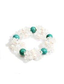 Bratara tripla cu perle de cultura, cristale transparente si pietre turcoaz