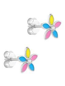 Cercei argint 925, cu email - Multicolor Flower