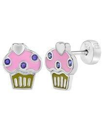 Cercei argint 925, Cupcake, cu prindere securizata, pentru fete