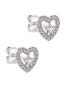 Cercei argint 925, in forma de inima, cu cristale CZ aplicate - Open Heart Star