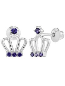Cercei argint 925, pentru bebe - Purple Crown