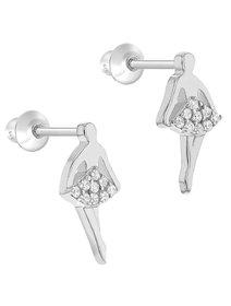 Cercei argint 925, pentru fete - Clear CZ Ballerina