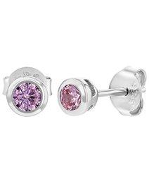Cercei argint 925 - Pink CZ Round Bezel