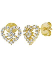 Cercei argint 925 placat cu aur - Clear CZ Heart
