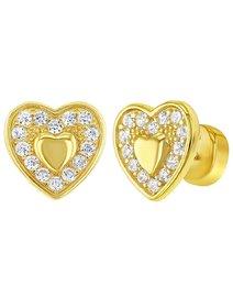 Cercei argint 925 placat cu aur, Cubic Ziconia Heart, pentru copii