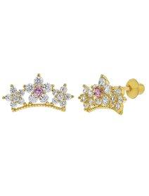 Cercei argint 925 placat cu aur, Star Princess Crown - pentru fete