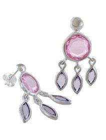 Cercei argint cu cristale roz