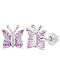 Cercei argint cu cristale roz CZ - pentru fete