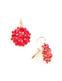 Cercei fashion, cu cristale rosii