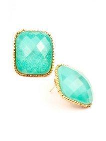 Cercei fashion cu pietre turquoise sidefat