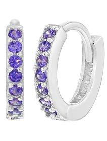 Cercei fete, din argint 925, Purple Crystals