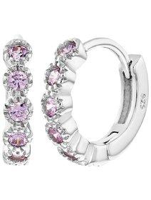 Cercei fete, din argint 925, cu cristale roz