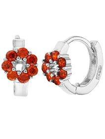 Cercei rosii, din argint 925, Small Flower Huggie Hoop