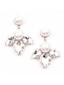 Cercei statement cu cristale transparente si perle fashion