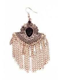Cercei statement din metal auriu cu cristale fashion