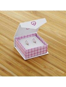 Cercei tip creola, pentru copii, din argint 925, cu cristale roz